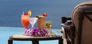 Drinks by the infinity pool